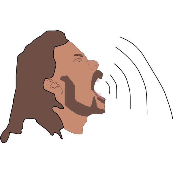 Vector illustration of a black man with beard speaking. Color drawing depicting speech