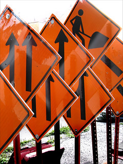 Photo of construction signs