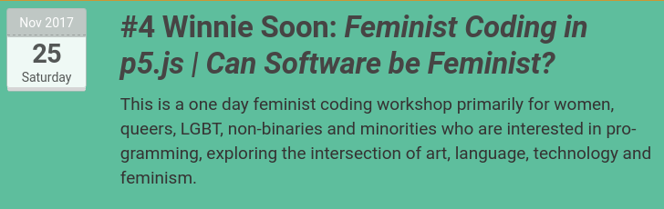 "Photo with text ""Winnie Soon: Feminist Codinf in p5.js 