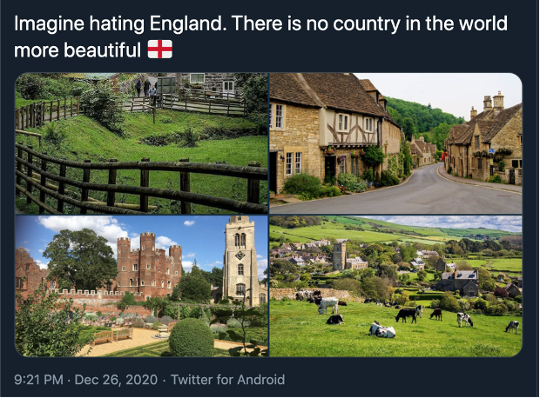 A tweet containing four photos of English countryside.